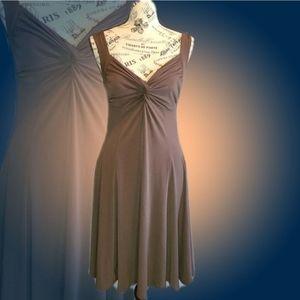 MODA Brown Strapless Twist Front Dress